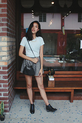 Yie W - Forever 21 Basic Top, Topshop Boots, From Korea Soft Leather Sling - Coffeehouse