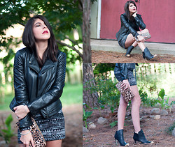 Erika Marie - Armani Exchange Leather Jacket, Louis Vuitton Ankle Boots, Volcom Body Con Dress - J A G U A R