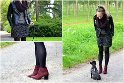 Daphne A. - H&M Burgundy Suede Ankle Boots, Noisy May Grey Knitted Jumper, Zara Leather Biker Jacket, Zara Polkadot Dress - NEW BURGUNDY BOOTS