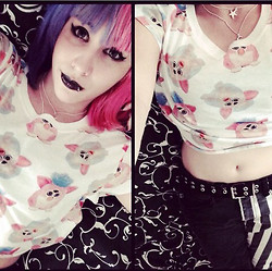 Anna Delao - H&M Furbie Crop Top, H&M Necklace, Hot Topic Black & Stripes - Furbies Lover