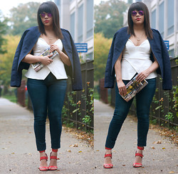 Joan Marie - Pim + Larkin Suede Jacket, Akira Top, Adriano Goldschmied Denim, Akira Stappy Heels - Moments of Chic