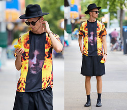 Chaby H. - Givenchy Madonna In The Fire, Zsigmond Dora Menswear Layered Short, Derby Shoes, Masamod Fedora Hat - Hat up