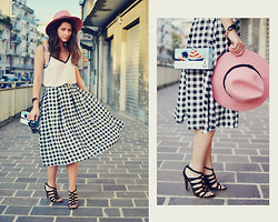 Nicoleta Buru - Primark Skirt, Valley Girl Hat, Zara Heels, Sly Clutch, Forever 21 Top - Checkered Skirt