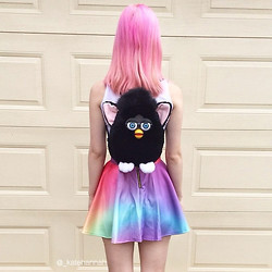 Kate Hannah - Furby Bag (1990s Deadstock), O Mighty Weekend Crayon Sk8er Skirt - ~pastel crayons~
