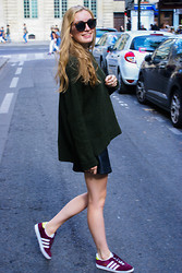 Omb Des - Saint Laurent Sunglasses, Zara Wool Jumpe, Topshop Leather Skirt, Adidas Gazelle Sneakers - Paris x easylunettes