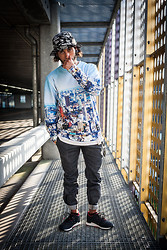 Kas - Diamondsupply Reefer Bucket Hat, Breakingrocksclothing Skyline City Sweater,, Kr3w Slim Chino Pants, Asics Nippon Blues - The Host''