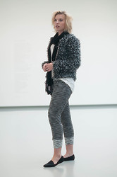 Rowan Reiding - The Sting Fluffy Coat Furry Cardigan Fur Jacket Isabel Marant Ko, Swaychic Knit Jogger Pants Knitted Sweat Pants, V&D Black Pashmina Scarf Silk, Vagabond Black Ponyhair Pointy Loafers, The Sting Oversized Basic T Shirt White Tee - SHADES OF GREY