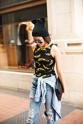 Karen Doh - Zara Cat Beanie, Ray Ban Blue Reflection Sunglasses, Lf Andy Warhol Banana Body Con Dress, Banana Republic Denim Shirt, Asos Black Leather Clutch, Zara Destroyed Boyfriend Jeans - Go Bananas!