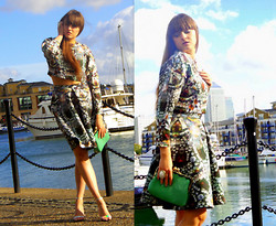 Agata Nika - H&M Diamond Print Crop Top, H&M Diamond Print Skirt, Zara Clutch, Zara Sandals, Primark Ring - Diamonds are forever