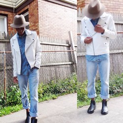 Tyric Davon'e - Topman Pharell Hat, 21 Men White Leather, H&M Chelsea Boot, American Eagle Lose Fit Jeans - DENIM x DENIM