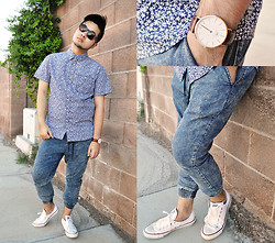 Shawn C. - Daniel Wellington Leather Watch, Forever 21 Acid Wash Joggers, Kohl's Floral Print Shirt - Hair raising (Visit my blog)