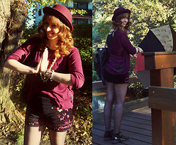 Jessica - Forever 21 Shorts, Pull & Bear Backpack, H&M Shirt, H&M Hat - Rustling Leaves