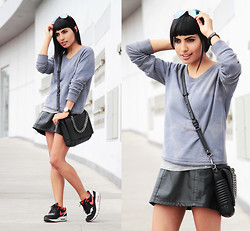 Alessandra Mazzini - Gap Sweater, Camote Soup Skirt, Nike Sneakers, Zara Bag - Leather skirt + Airmax