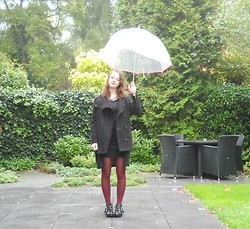 Iris K - Mango Black Coat, Primark Red Tights, Zara Statement Necklace, Handmade Skirt, C&A Basic Top, Van Haren Shoes - It can't rain forever