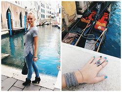 Signe Savant - Deb Grey Tee, Deb Distroyed Jeans, Deb Booties, Swallow's Heart Agate Horn Necklace, Marisa Diane Designs Tribal Stone Ring - When in Venice...