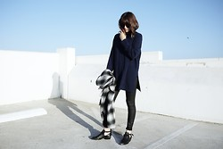 Rima Vaidila - Net A Porter Oversized Turtleneck, Res Denim Waxed Skinny Jeans, Somedays Lovin' Plaid Wool Coat - Turtlenecking