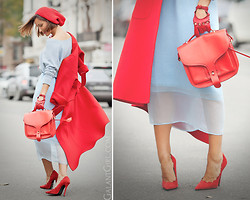 Galant-Girl Ellena - Opening Ceremony Bag, Jeffrey Campbell Suede Pumps, Iris & Ink Cashmere Sweater - With some drops of RED!