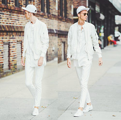 Chaby H. - H&M White Bomber Jacket, H&M Elongated Shirt, H&M White Leather Sneakers - White on white