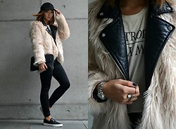 Konstanzia and Atusa Lechler - H&M Fur Jacket, Zara Leather Jacket, Pieces Black Jeans, H&M Cap, Zara Shoes, Zara Clutch - OMG... IT'S SO FLUFFY!