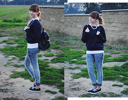 Sabina . - Primark Blue Sweatshirt, Lindex Grey Jeggings, Deichmann Black Boots, Faux Leather Backpack - Blue sweatshirt