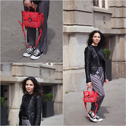 Jasmin - Rebecca Minkoff Bag, Converse Shoes, Miss Selfridge Jacket, Reiss Trousers - The Pyjama Pants