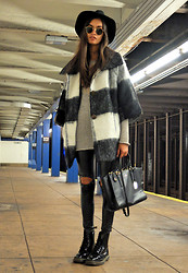 Gizele Oliveira - Urban Outfitters Coat, Rag & Bone Sweater, Ray Ban Sunglasses, H&M Hat, Coach Bag, Style Moi Leggings, Dr. Martens Boots - Cold weather