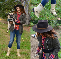 Clariza Jane - Grenadier Henry Jones Fedora, Old Navy Military Jacket, The Frye Company Engineer Boots, All Details On Blog, Bowties And Caviar Blog - 10242014 - Apple Picking in the Shenandoah Valley