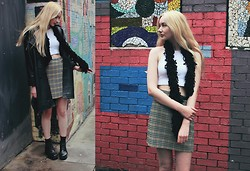 Alice Young - Charity Shop Leather Coat, Asos Crop, Charity Shop Scarf, Sainsbury's Skirt, Vagabond Boots - 'It's Like A Totally Important Designer'