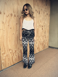 Moxia Moon - Circle Sunnies, Charlotte Russe Pom Pom Cropped Top, Charlotte Russe Flared Printed Pants - Hippy Vibes