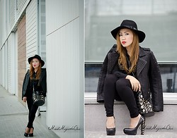 Ojie Papalli - Betsey Johnson Shoe, Mango Jacket Studd, Romwe Fedora Hat - Black to Studd