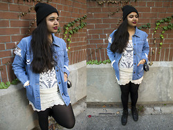 Maha Hawk - H&M Beanie, Salvation Army Vintage Denim Jacket, Ebay Embroidery Top, Rick Owens Crochet Lace Shorts, Studded Heart Bag, Sketchers Biker Boots - Wild Flower