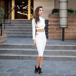 Tienlyn . - Missguided Crop Top, Missguided Cut Out Midi Skirt, Fendi Sandal Booties - Cut Out