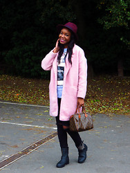 Laura C - Primark Coat, River Island T Shirt, River Island Jeans, Peacocks Hat - 'That' pink coat // StylishVue