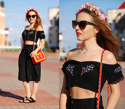 Iren P. - The Look Embroidered Off Shoulder Crop Top, Vintage Linen Black Culottes, Moschino Mcdonalds Logo Inspired Bag, Birkenstock Black Arizona Sandals, Diy Clover Red Earrings, Diy Clover Red Necklace, Diy Flower Crown - Linen Culottes & Off Shoulder