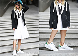 Karen Lee - Eric Javits Fedora, Céline Oversized Sunglasses, Caruso By Changkwanghyo Double Breasted Blazer, Caruso By Changkwanghyo Men's Dress, Club Monaco Bowtie, Adidas Stan Smith - Fedora and Bowtie