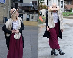 Liat Neuman - Urban Outfitters Fur Scarf, American Apparel Skirt, Zara Boots - Toronto fashion week- Day 2