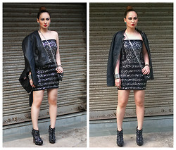 Stephanie Timmins - Vero Moda Sequin Dress, Vero Moda Leather Jacket, Jolly Chic Ankle Boots - Shimmer & Shine in Sequin & Leather!