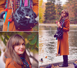 Anastasia K. - Lakbi Coat, Asos Scarf, Asten Bag, Vitacci Boots - Orange.