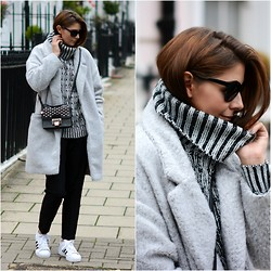 Emma Hill - Adidas Trainers, Forever 21 Roll Neck Jumper, Jimmy Choo Bag - Mono-Cosy
