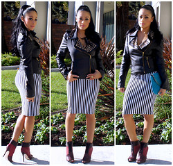 Marina Hidalgo - 6ks Black Rivets Shoulder Board Biker Jacket, Poof Apparel Stripe Skirt, Shoedazzle Emya Booties, Foreign Exchange Clutch - It Feels Good. I'm Happy To Be Back
