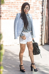 Goodbadandfab Girl - Uniqlo Shirt, Zara Blazer, Express Shorts, Shoedazzle Heels, She + Lo Purse, Chilli Beans Sunglasses - Falling Short