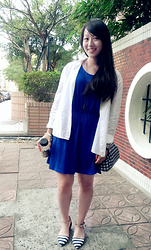 Cecilia Huang - Cherrykoko White Shirt, Cherrykoko Royal Blue Dress, Marc By Jacobs Bracelet, Goodnightmacaroon Premium Nautical Strip Pointy Metal Plate Ankle Strap Flats, Self Made Robot Necklace - CherryKoko Style -blue dress, white shirt