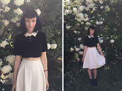Amelia Goldie - Sheinside Cropped Collared Shirt, Sheinside Pleated Midi Skirt, Dune Pointed Chelsea Boots - Spring Time