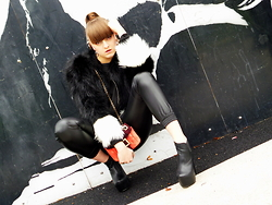 Agata Nika - H&M Fur, Roger Vivier Clutch, Linzi Ankle Boots, Zara Leather Pants, Zara Crop Knitwear, Clairs Cuffs Earrings - Innocent panda