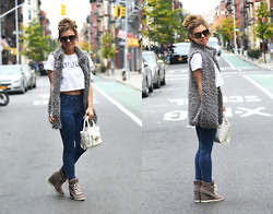 Katie Miller - Forever 21 Graphic T, Acid Reign Wash Highwaisted Jeans, Forever 21 Faux Fur Vest, Forever 21 White Satchel Bag, Steve Madden Sneaker Wedges, Urban Outfitters Black Sunglasses - Street Simplicity