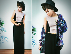 Sophia Mayrhofer - Thera Clothing Eve Top In Cream, H&M Maxi Skirt, Forever 21 Wide Brim Hat, Thrifted Aztec Cardigan - Divided