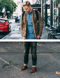Danny Owens - Norman Russell Kenny Cardigan, Norman Russell Willis Ii Woven   Blue Chambray Raw, Norman Russell Cookie Selvage Denim   Alley Wash, Palladium Pampa Hi Cuff Boots - Portland Bound!