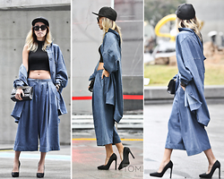 Karen Lee - Jkoo Street Denim Culottes, Jkoo Street Oversized Denim Shirt, Chanel Purse, New Era Snapback, Jeffrey Campbell Ouzel Pony Hair Pumps, Céline Oversized Sunglasses, Forever 21 Cropped Top - On the go