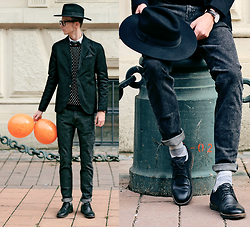 Chaby H. - Spf Black Blazer, Spf Skinny Jeans, Leather Shoes, Fedora Hat - HALLOWEEN