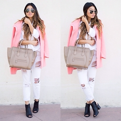 Linh Nguyen - Bardot Coat, Céline Bag, Ami Cutout Booties, Forever 21 Bf Jeans, Bella Dahl White Button Up - Lighten up
